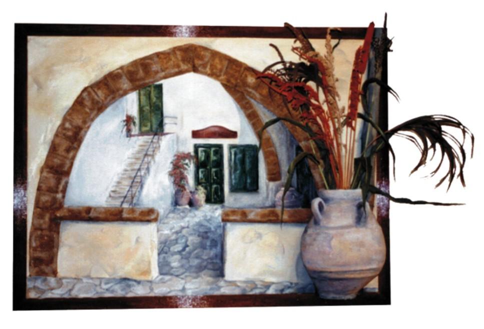 "Collagebild ""Griechischer Hof"" (Öl, Spachtel, Keramik, Sand, Leinwand, Keilrahmen)"