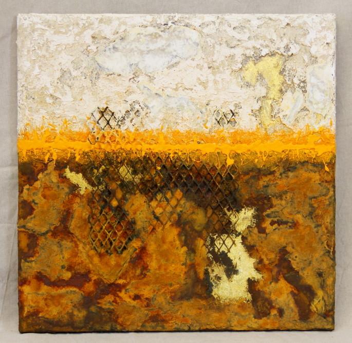 Malerei, Collage, Öl auf Leinen mit Pigmenten, Rost und Blattgold