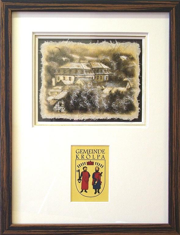 "Fineart Print ""Schloß Krölpa"" (Druck mit Kreide, oberflächenveredelt auf handgeschöpftem Papier, 3-fach Passepartout, Echtholzrahmung)"