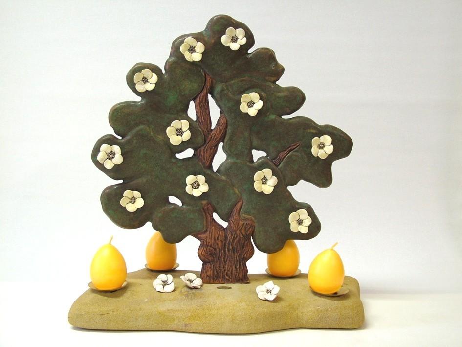 """""""Baum mit Blüten auf Naturstein"""" (Keramik glasiert, Sandstein)"""