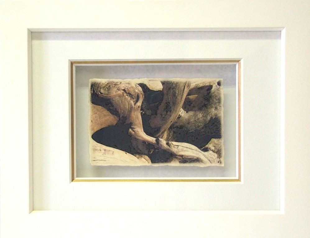 "Fineart Print ""Körperwelten in Holz"" (Druck, oberflächenveredelt auf handgeschöpftem Papier, 3-fach Passepartout, Echtholzrahmung)"