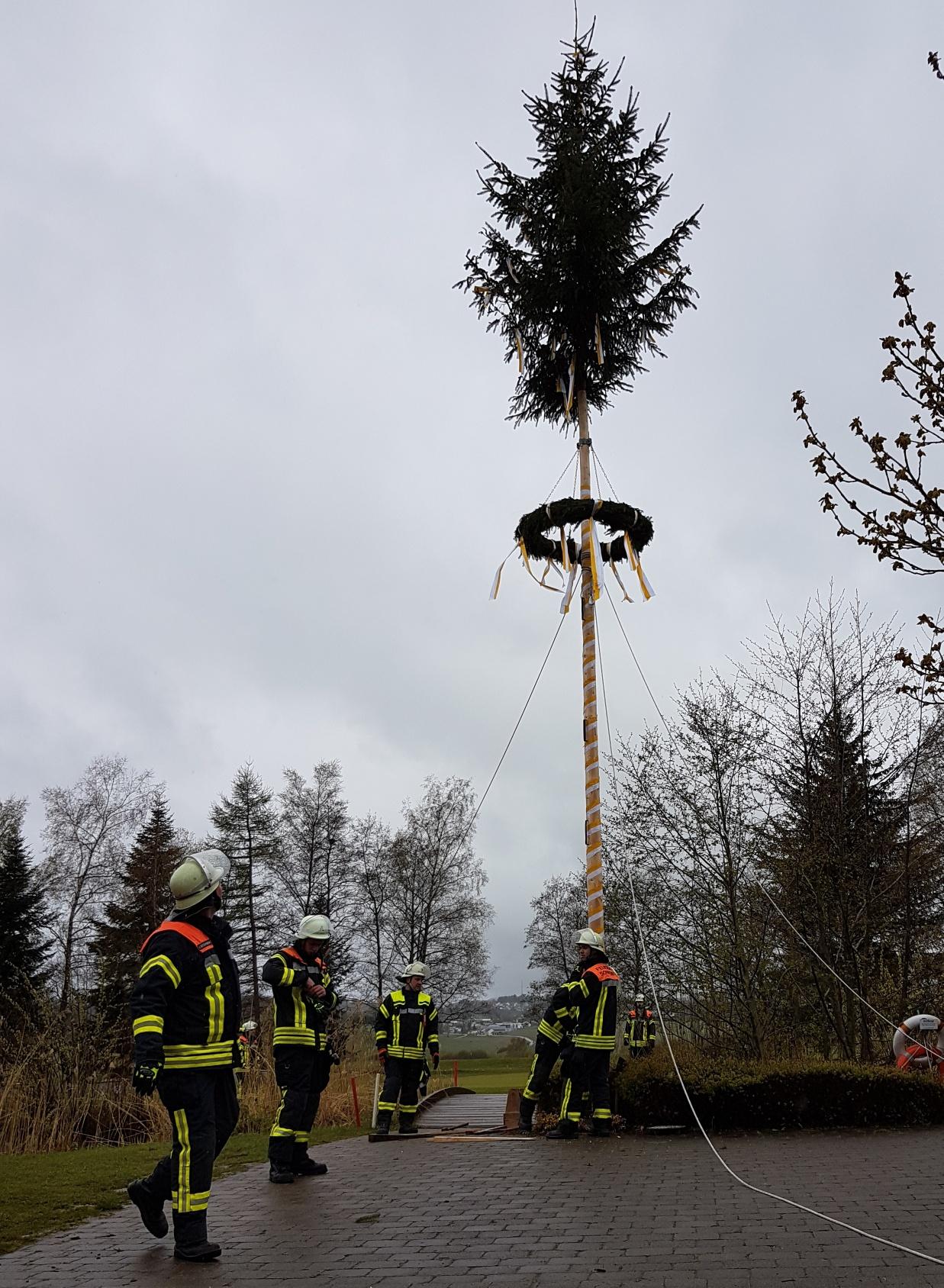 Der Maibaum muss aufgestellt werden, auch wenn's draußen nicht gerade kuschelig ist. Die Sonnenbühler Feuerwehr mit Ihrem Kommandant Michael Schäfer leisteten wieder ganze Arbeit.