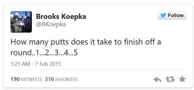 Tweet von Brooks Koepka zum 5-Putt - Klick aus Bild zum Video!