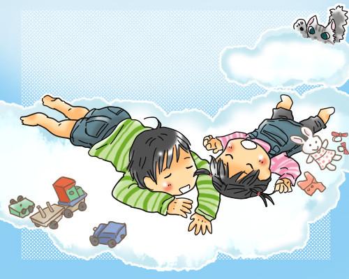 雲でお昼寝(リクエスト絵)