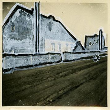 home   6x6  vinyl on vintage photograph   09
