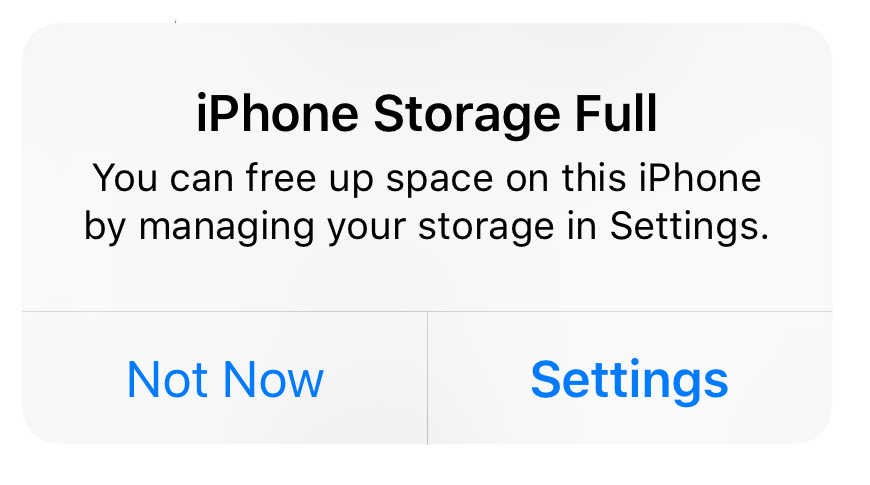 ERROR – storage full, free up space in settings (Lena)