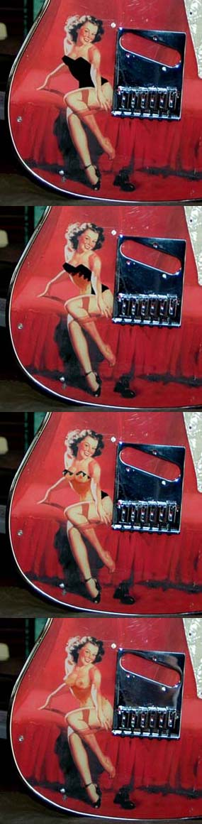"""When the owner of """"Hollywood Girl"""" (below) saw """"Shop Girl"""" (above) he ordered a """"tip`n`strip type of guitar"""" and got these scetches made by Chris Larsen. Later Chris must have decided on replacing this nice lady with Marilyn Monroe."""