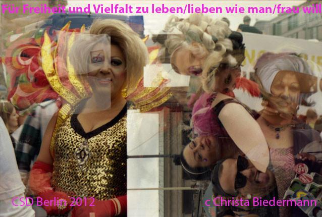 """""""Für Freiheit und Vielfalt zu leben/lieben wie man/frau will"""", analoge Farbfotografien, je 40 x 60 cm, CSD Berlin 2012, c Christa Biedermann"""