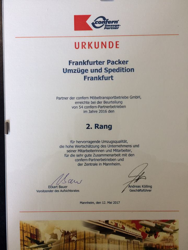 Our certificate in 2016. Second Place, thank you!