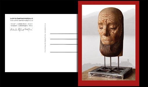 "Postkarte ""Hiob"" - Holzskulptur Bildhauerin Ludmila Seefried-Matějková;  Grafik-Design, Photographie, Druckvorbereitung"