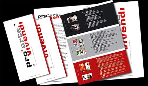 """Flyer für internationalen Kunstverein """"PRO ARTE VIVENDI"""" in Berlin;  Grafik-Design, Photographie, Druckvorbereitung"""
