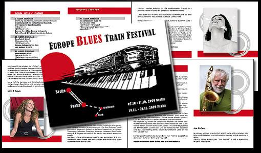 """Broschüre (28 Seiten) für """"EUROPE BLUES TRAIN FESTIVAL 2009"""" Stationen Berlin und Prag - deutsch / tschechisch PRO ARTE VIVENDI e.V. Berlin und art. e.m.;  Grafik-Design, Druckvorbereitung"""