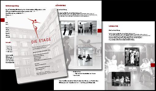 """Broschüre (32 Seiten) für """"DIE ETAGE"""" Schule für die darstellenden Künste e.V. Berlin;  Grafik-Design, Photographie, Druckvorbereitung"""