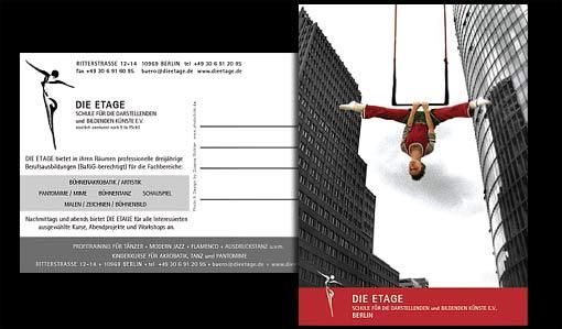 """Postkarte """"DIE ETAGE"""" - Schule für die darstellenden  und bildenden Künste e.V.;  Grafik-Design, Photographie, Druckvorbereitung"""