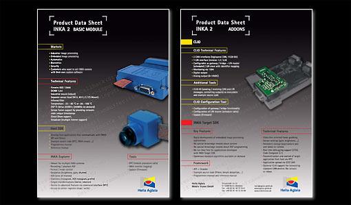 Produktblatt INKA 2 (Inteligente Kamera 2)  Hella Aglaia Mobile Vision GmbH in Berlin; Grafik-Design, Bildbearbeitung und Druckvorbereitung