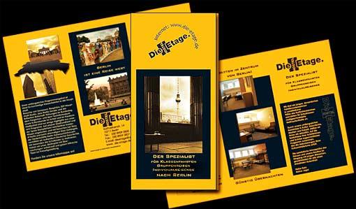 """Flyer für Hostel """"Die Etage-Der Spezialist für Klassenfahrten"""", Berlin;  Grafik-Design, Photographie, Druckvorbereitung"""