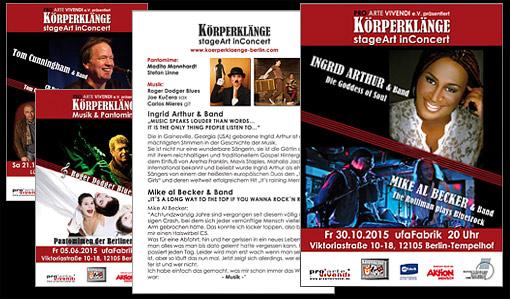 Einladungen zur Konzerten des Projektes - KÖRPERKLÄNGE  PRO ARTE VIVENDI e.V.;  Grafik-Design, Bildbearbeitung, Druckvorbereitung