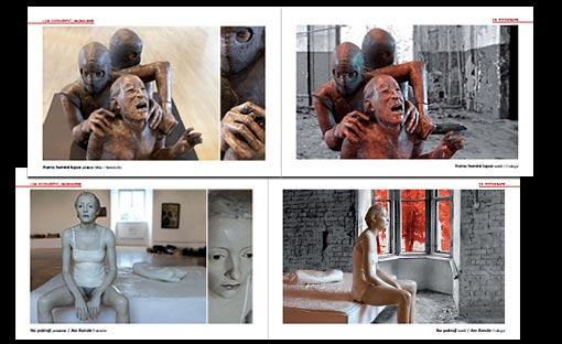 """Katalog (28 Seiten) für Ausstellung """"ZWISCHEN ZWEI WELTEN"""" Bildhauerei und Photographie - deutsch / tschechisch PRO ARTE VIVENDI e.V. Berlin und Galerie Tschechisches Zentrum Prag;  Grafik-Design, Photographie und Druckvorbereitung"""