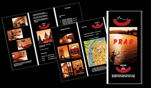 Flyer für Apartments und Studios im historischen Zentrum von Prag;  Grafik-Design, Photographie, Druckvorbereitung