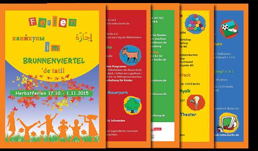 """Flyer für """"Ferienkalender im Brunnenviertel"""" in Berlin;  Grafik-Design, Bildbearbeitung, Druckvorbereitung"""