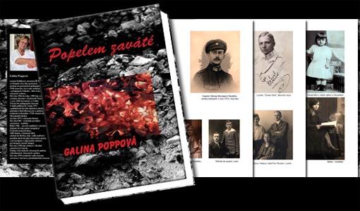 """Buchumschlag """"Popelem zavate (Von Asche verweht)"""" - Galina Poppová;   Grafik-Design, Photographie, Bildbearbeitung von historischem Fotomaterial und Druckvorbereitung"""