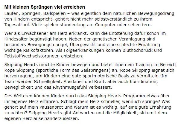 Quelle Bericht und Bild: www.skippinghearts.de