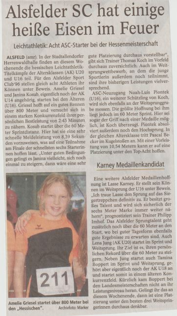 Oberhessiche Zeitung Alsfeld vom 25.01.2019