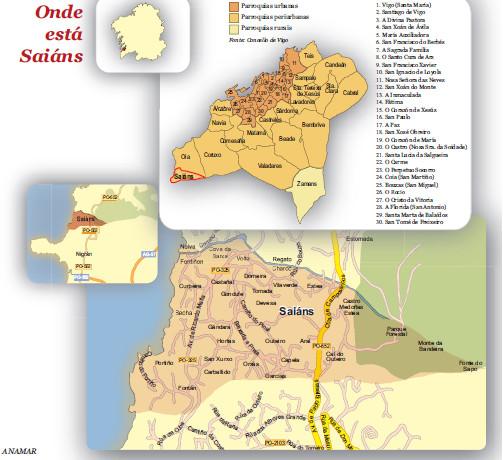 Mapa das parroquias de vigo