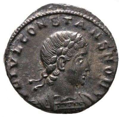 nummus, Thessalonique, 1,82 g, 1e émission, 4e officine, Avers: FL IVL CONSTANS NOB C.