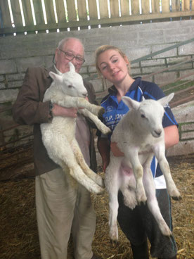 Molly and Grampa with Coed Owen Lambs
