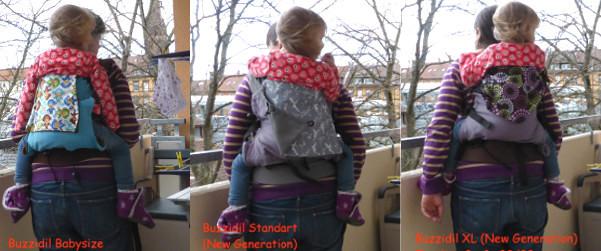 Buzzidil Babysize, Standart und XL im Vergleich