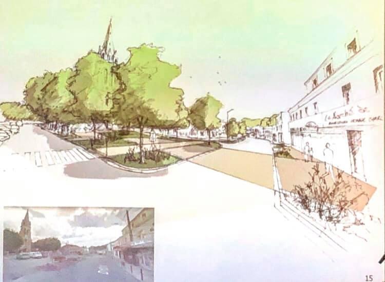 Esquisse du projet d'entrée du bourg.