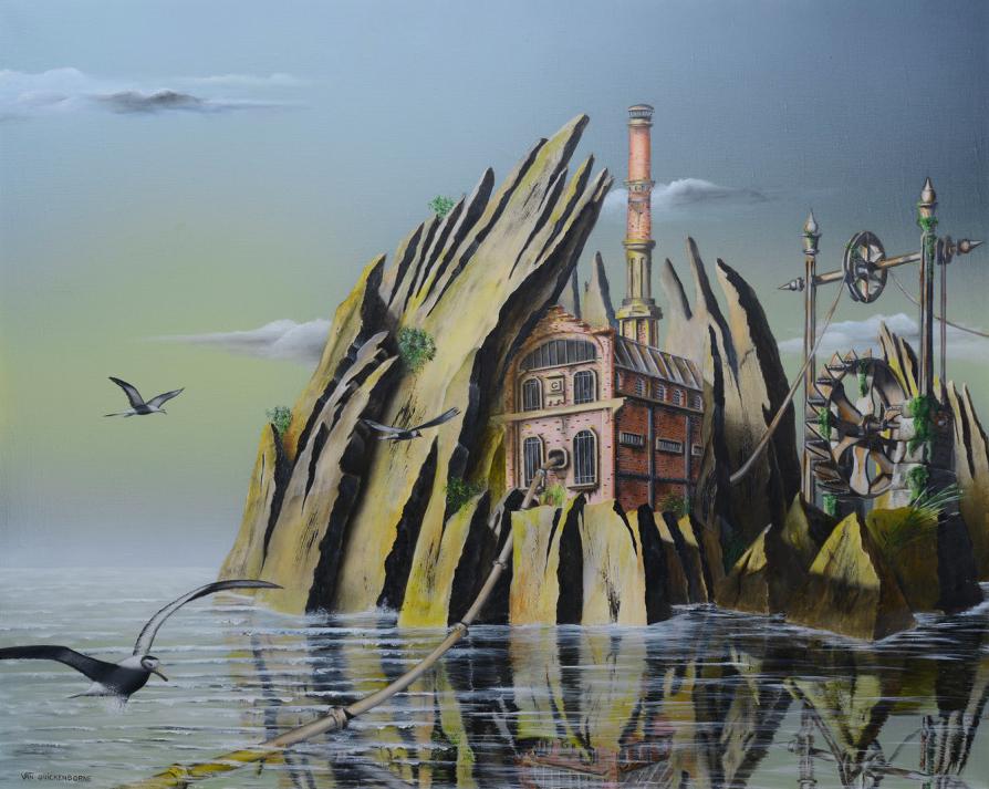 Les secrets du temps, Huile & Acrylique sur toile, 73 x 60 cm./Oeuvre de Thierry Van Quickenborne