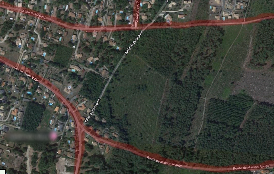 La panne s'étend sur les quartiers indiqués en rouge.