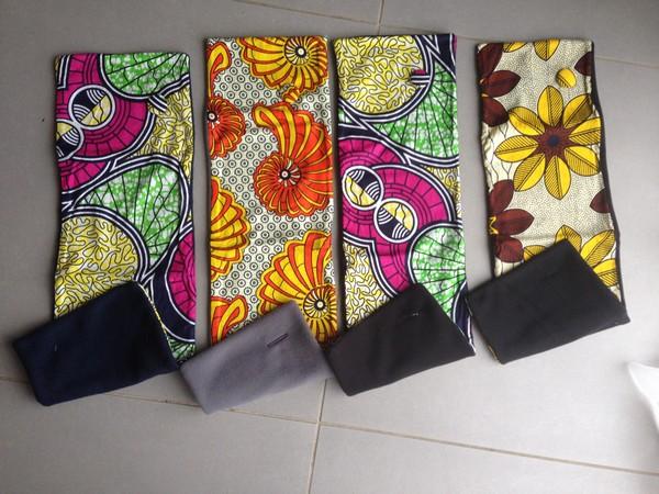 Cache- cou en tissu africain et polaire avec bouton