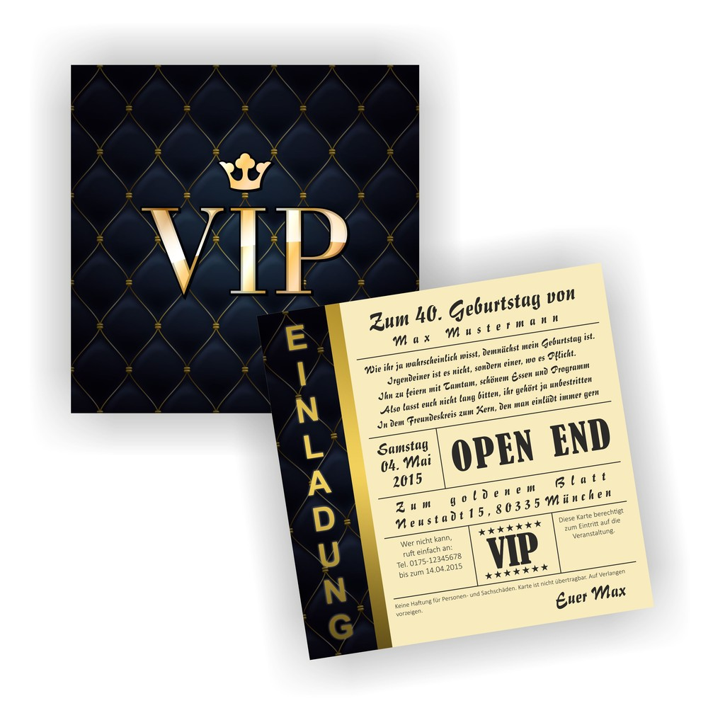 EI 027 Einladungskarte Geburtstag Geburtstagskarte VIP Vintage Retro