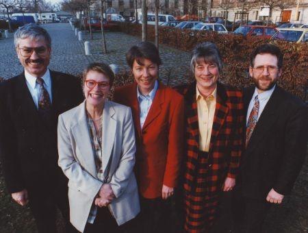Wahlkampf 1995: v.l.n.r. R. Kujath, P. Merkel, I. Stahmer, M. Wissel, H. Rogall