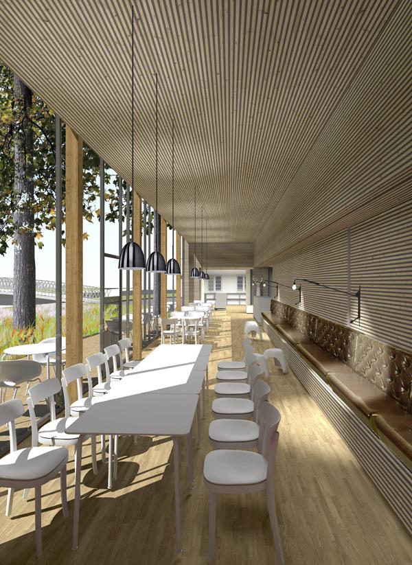 moderne Architektur Restaurant und Cafe aus Holz