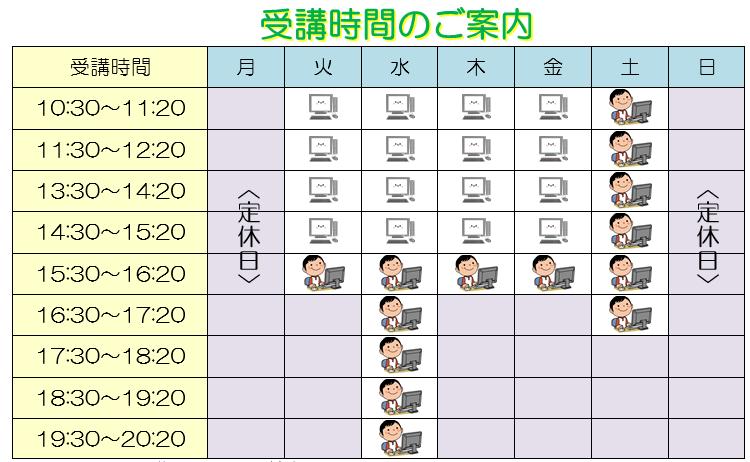 墨田小学生・中学生パソコン教室時間割