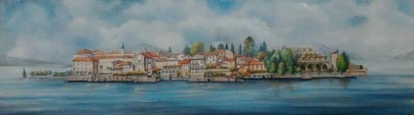 ISOLA BELLA, Lago Maggiore  acrilico su legno pennellato, malte, intaglio a traforo 110x32