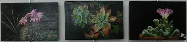 trittico, acrilico su legno, malte,tondini d acciaio, foglia argento, finitura a cera 107x30