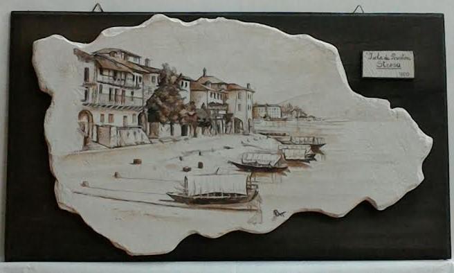 ISOLA PESCATORI nell'800, Lago Maggiore  affresco su legno, terra e pigmenti, grassello di calce 52x30