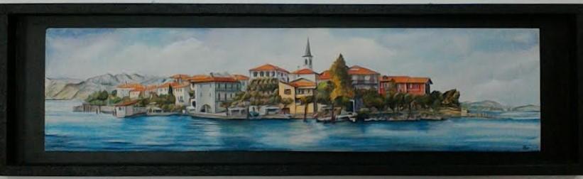 ISOLA DEI PESCATORI, Lago Maggiore  acrilico su legno tridimensionale, malte, taglio a traforo, cornice pannellata 110x32