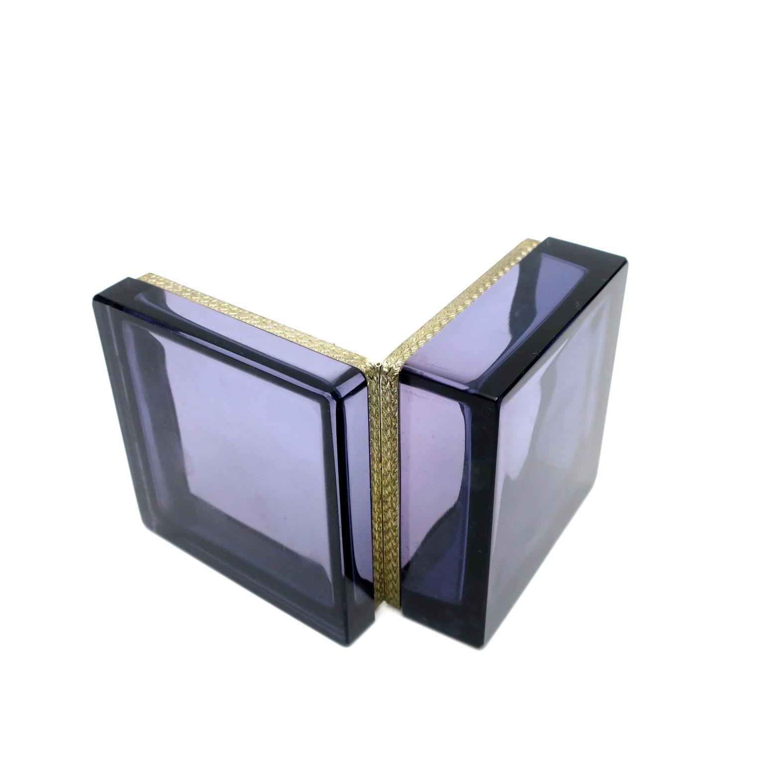 trinket box ormolu geschenk hochzeitsgeschenk kaufmuseum murano midmod midcentury noble design interior  glasdose box deckeldose inneneinrichtung purpur amethyst