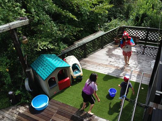 庭 自宅 家 キャンプ グランピング ベランピング デッキ ガーデニング アウトドア 庭キャン