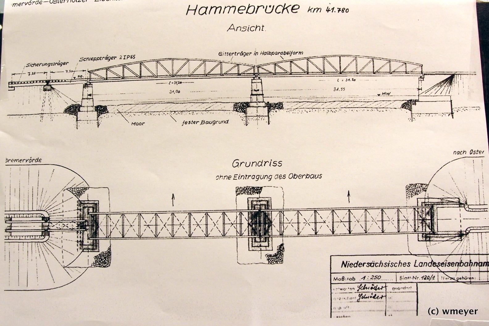Spur 0 Worpswede Vorbildzeichnung Brücke