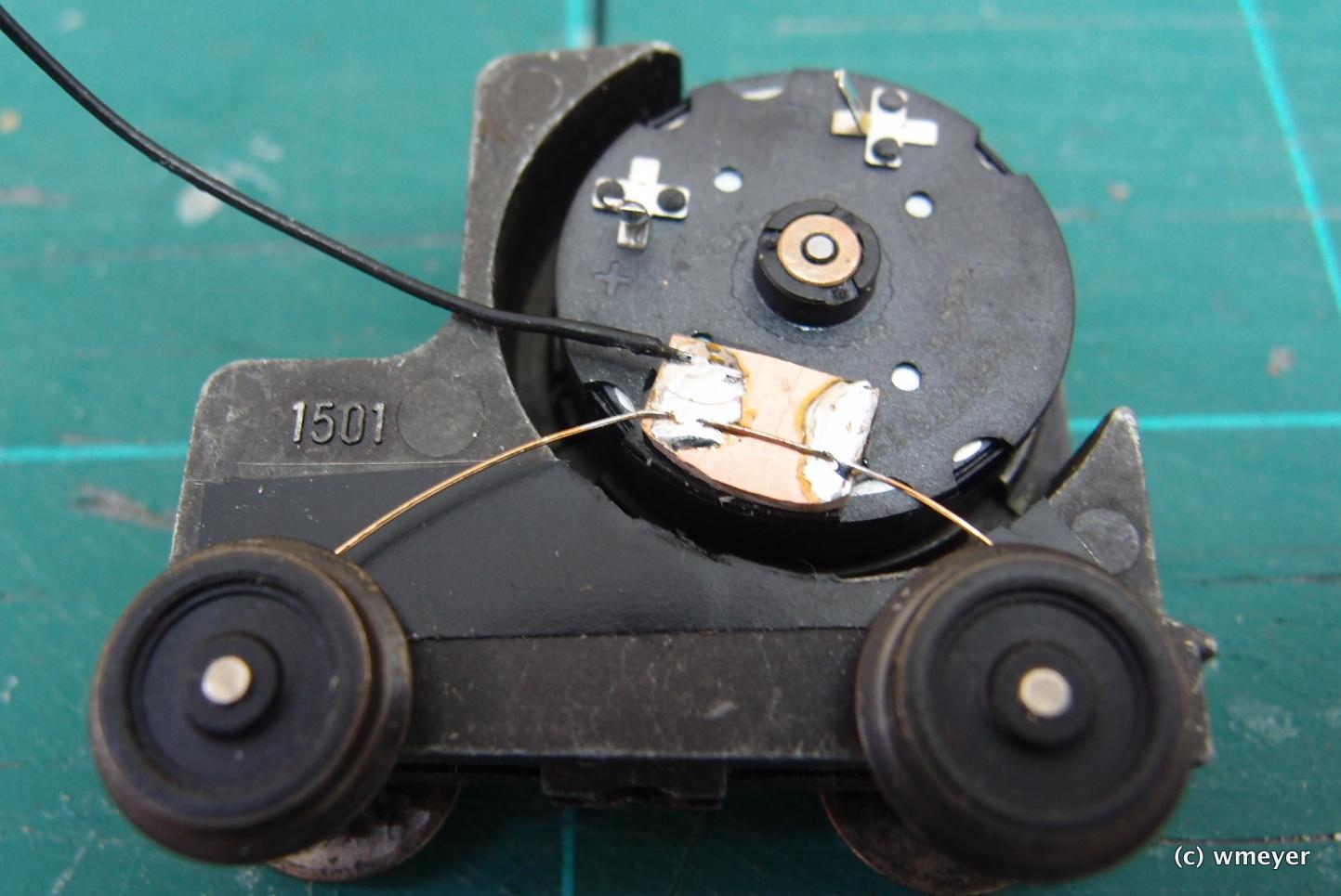 Neue Stromabnahme von den Rädern + Isolierband