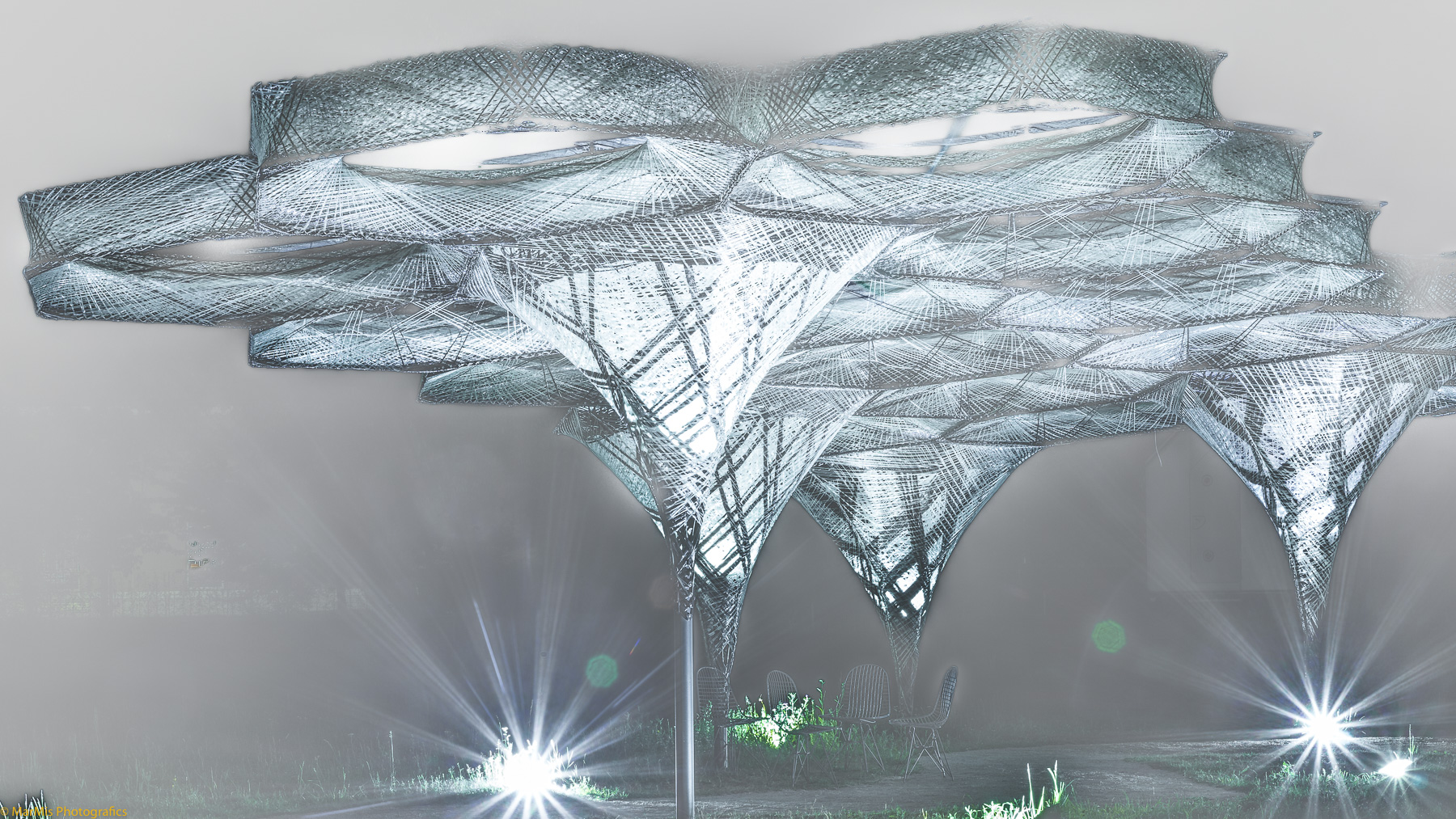 Elytra Filament Pavilion Außeninstallation zur Ausstellung »Hello, Robot.« auf dem Vitra Campus