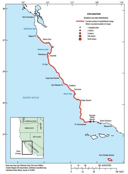 図1:カリフォルニアラッコのカリフォルニア本土中央沿岸部およびサンニコラス島における分布 2017年。