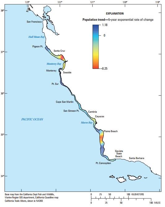 図5:カリフォルニア本土中央沿岸部沿いのラッコの地域的な個体数傾向。傾向は5年の変化率指数平均を示す。サンニコラス島の空間的に明白な分析が現在おこなわれていないため、サンニコラス島のデータは示されていない。